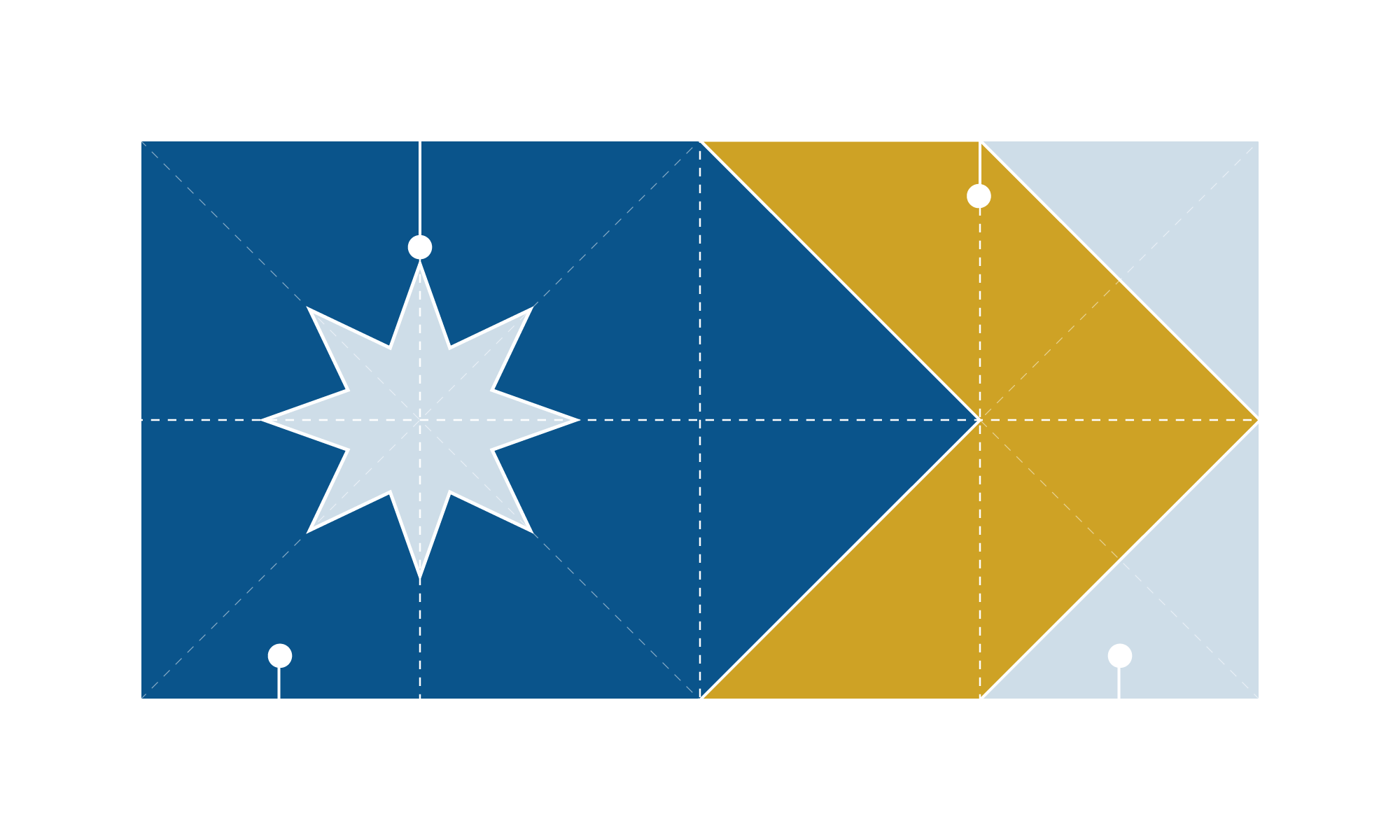 A federation star on our starry blue night, to reflect our rich history. A golden chevron / boomerang points towards the fly. In the corners, bright light to symbolise the daybreak, our future.